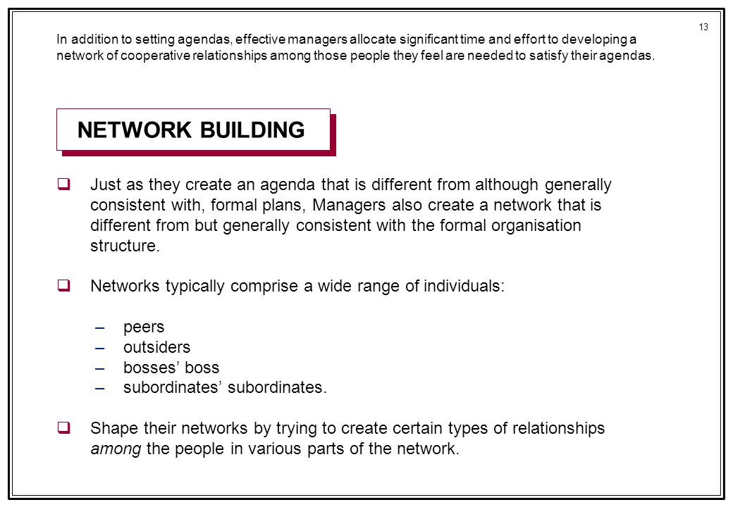 13 In addition to setting agendas, effective managers allocate significant time and effort to developing a network of cooperative relationships among those people they feel are needed to satisfy their agendas.