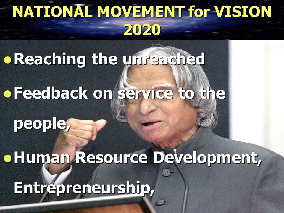 NATIONAL MOVEMENT for VISION 2020 Reaching the unreached Reaching the unreached Feedback on service to the people, Feedback on service to the people, Human Resource Development, Entrepreneurship, Human Resource Development, Entrepreneurship,