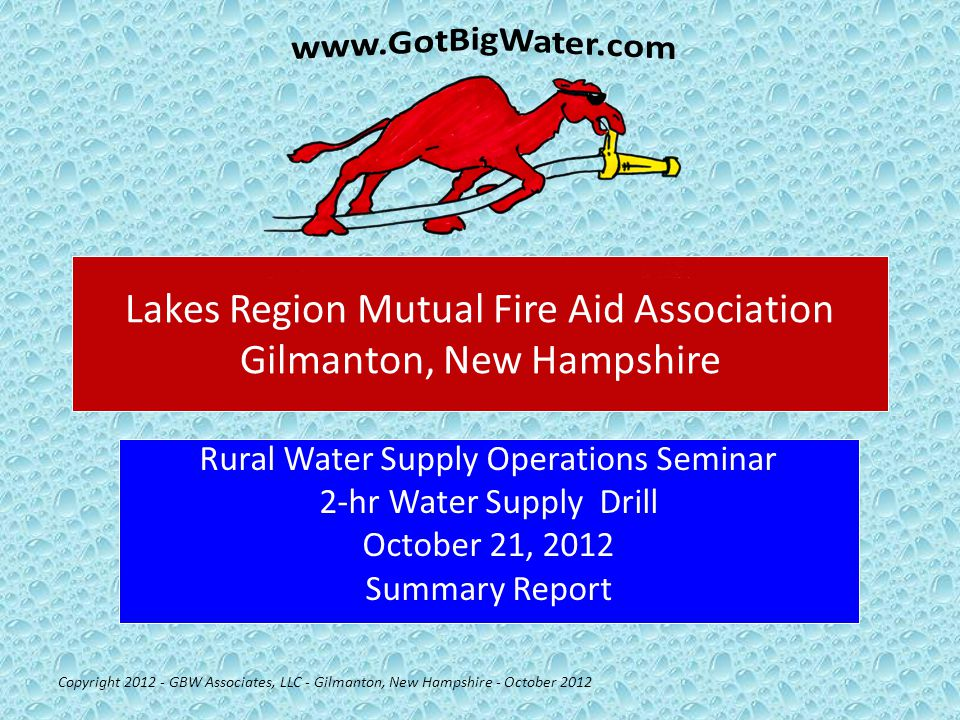 Water Flow Begins Copyright 2012 - GBW Associates, LLC - Gilmanton, New Hampshire - October 2012 Water flow was started at the 5:00 minute mark at a rate of 250 gpm.