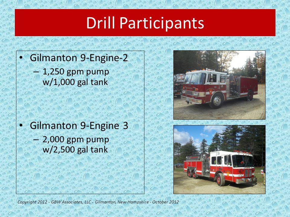 Drill Participants Gilmanton 9-Engine-2 – 1,250 gpm pump w/1,000 gal tank Gilmanton 9-Engine 3 – 2,000 gpm pump w/2,500 gal tank Copyright 2012 - GBW