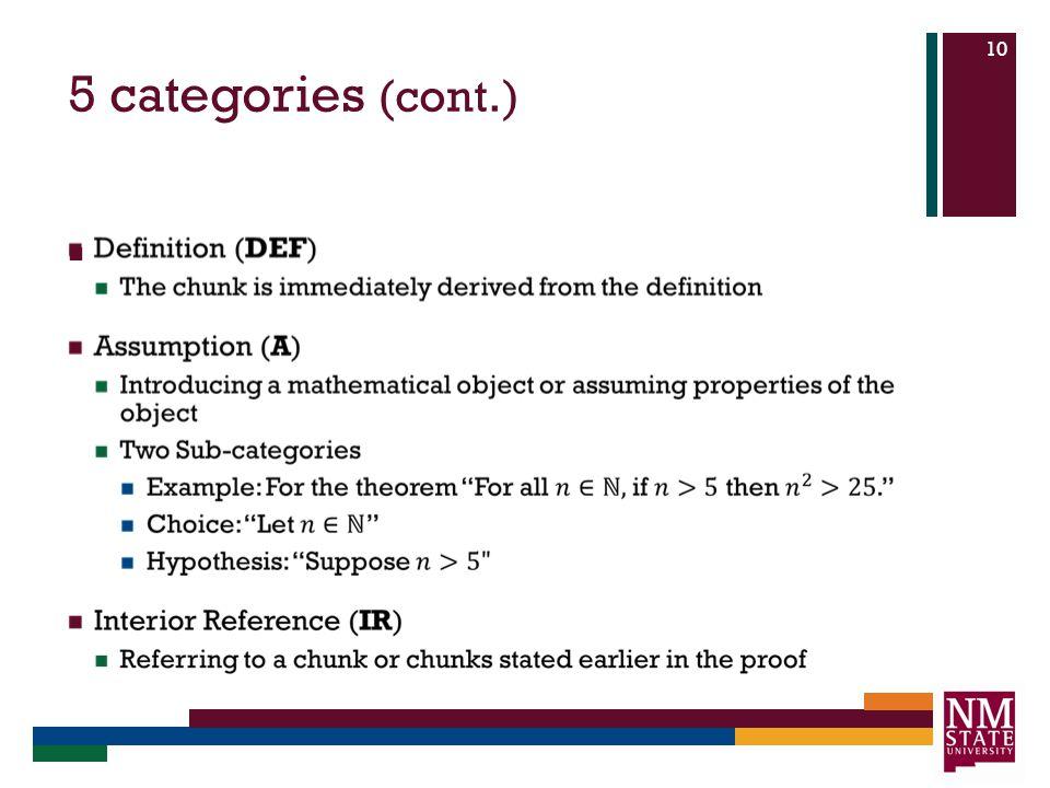 5 categories (cont.) 10