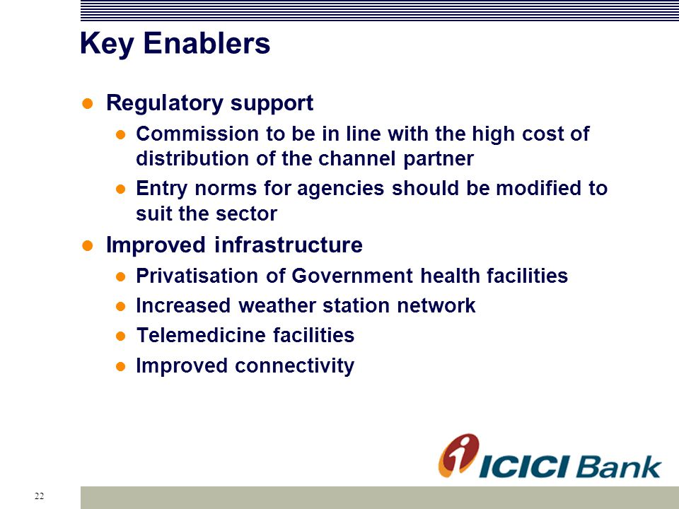 22 Key Enablers Regulatory support Commission to be in line with the high cost of distribution of the channel partner Entry norms for agencies should be modified to suit the sector Improved infrastructure Privatisation of Government health facilities Increased weather station network Telemedicine facilities Improved connectivity
