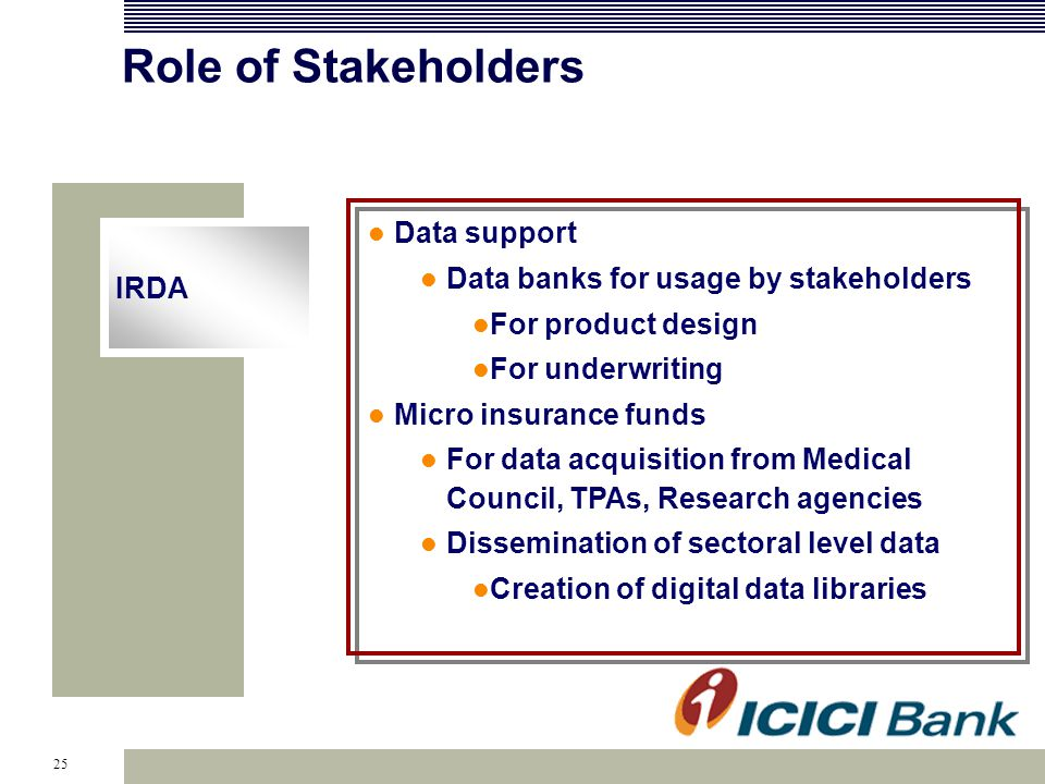 25 Role of Stakeholders IRDA Data support Data banks for usage by stakeholders For product design For underwriting Micro insurance funds For data acquisition from Medical Council, TPAs, Research agencies Dissemination of sectoral level data Creation of digital data libraries