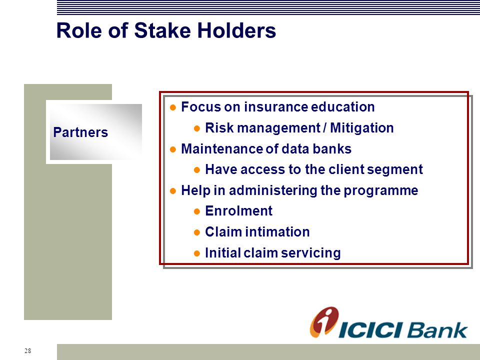 28 Role of Stake Holders Partners Focus on insurance education Risk management / Mitigation Maintenance of data banks Have access to the client segment Help in administering the programme Enrolment Claim intimation Initial claim servicing