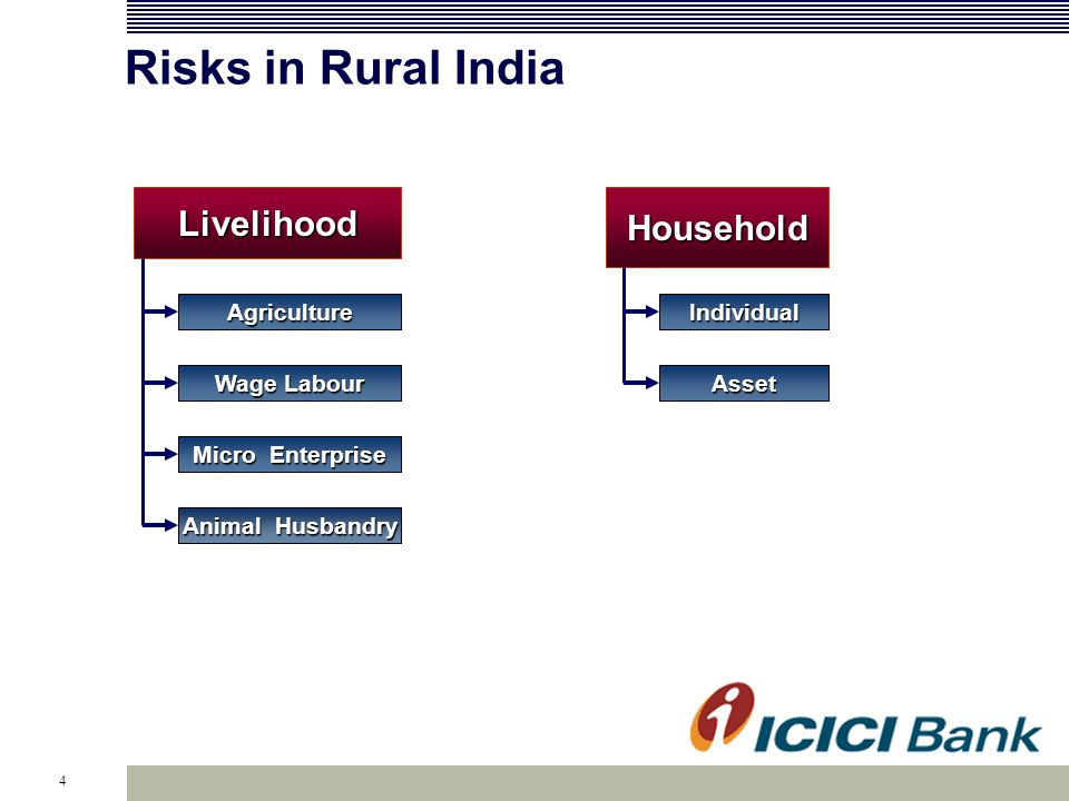 4 Risks in Rural India Agriculture Wage Labour Micro Enterprise LivelihoodHousehold Asset Individual Animal Husbandry