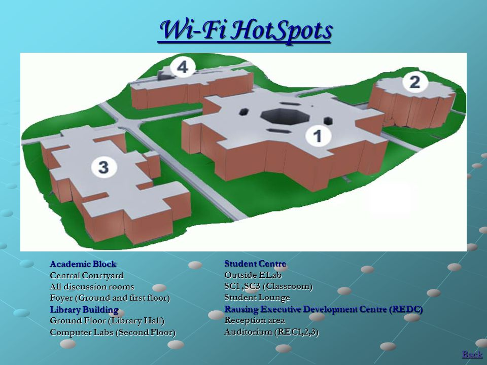 Wi-Fi HotSpots Academic Block Central Courtyard All discussion rooms Foyer (Ground and first floor) Library Building Ground Floor (Library Hall) Compu