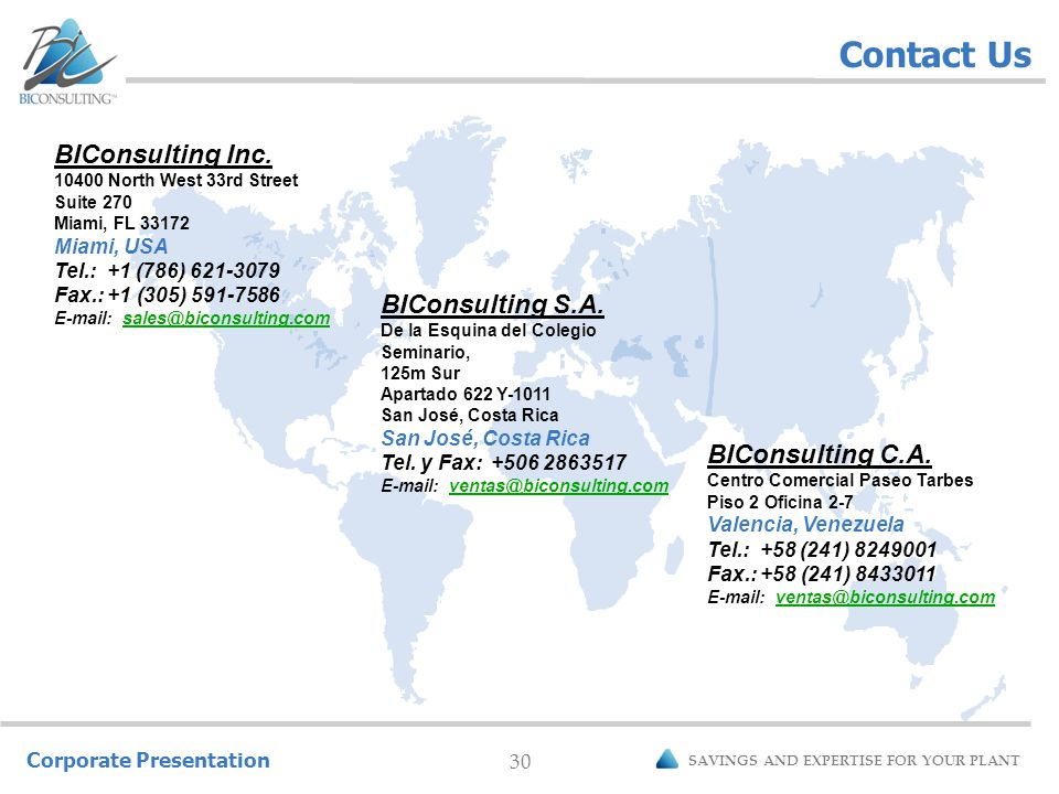 Corporate Presentation 30 SAVINGS AND EXPERTISE FOR YOUR PLANT Contact Us BIConsulting C.A.