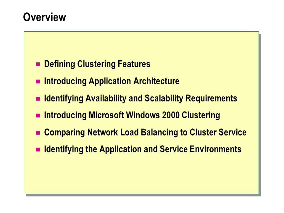 Overview Defining Clustering Features Introducing Application Architecture Identifying Availability and Scalability Requirements Introducing Microsoft