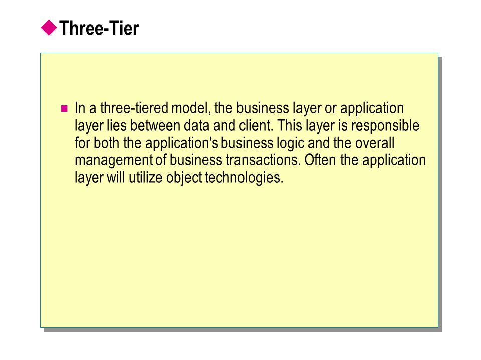  Three-Tier In a three-tiered model, the business layer or application layer lies between data and client. This layer is responsible for both the app