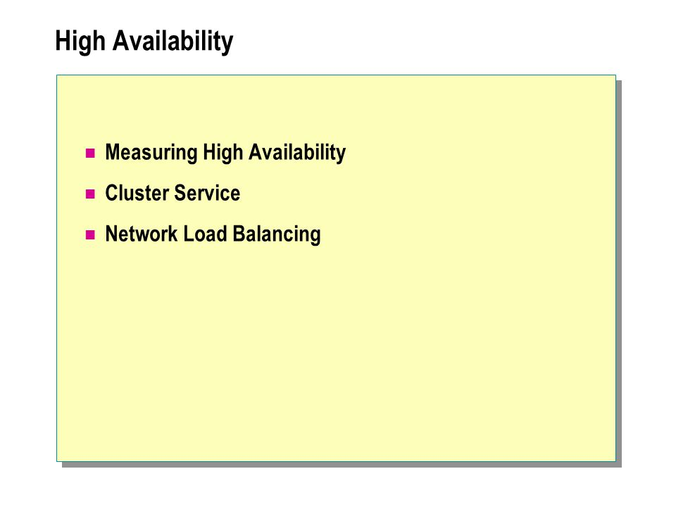 High Availability Measuring High Availability Cluster Service Network Load Balancing