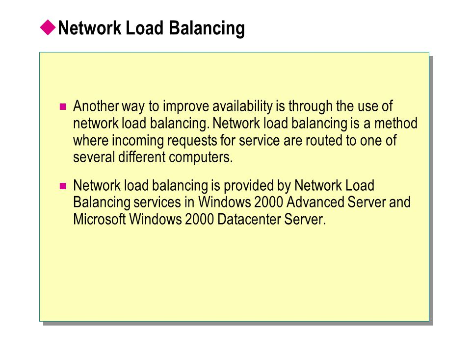  Introducing Microsoft Windows 2000 Clustering ethernet Web Host 1 Web Host 1 Web Host 2 Web Host 2 Web Host 3 Web Host 3 Web Host 4 Web Host 4 Network Load Balancing Component Load Balancing Network Load Balancing Component Load Balancing 2-node Cluster Service Internet Customer Database Messaging File Shares Database Messaging File Shares