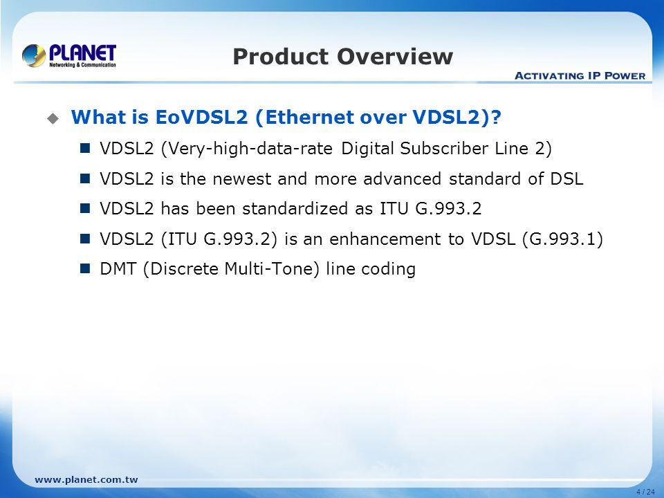 www.planet.com.tw Product Overview  DSL Standard FamilyITUNameRatified Maximum Speed capabilities ADSLG.992.1G.dmt1999 8 Mbps down 1 Mbps up ADSL2G.992.3G.dmt.bis2002 12 Mb/s down 1 Mbps up ADSL2plusG.992.5ADSL2plus2003 24 Mbps down 1 Mbps up ADSL2-REG.992.3Reach Extended2003 8 Mbps down 1 Mbps up SHDSL (updated 2003) G.991.2G.SHDSL20035.6 Mbps up/down VDSLG.993.1Very-high-data-rate DSL2004 55 Mbps down 15 Mbps up VDSL2 -12 MHz long reach G.993.2Very-high-data-rate DSL 22005 55 Mbps down 30 Mbps up VDSL2 - 30 MHz Short reach G.993.2Very-high-data-rate DSL 22006100 Mbps up/down