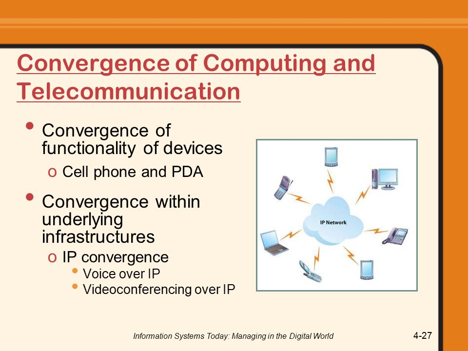 Information Systems Today: Managing in the Digital World 4-27 Convergence of Computing and Telecommunication Convergence of functionality of devices o Cell phone and PDA Convergence within underlying infrastructures o IP convergence Voice over IP Videoconferencing over IP