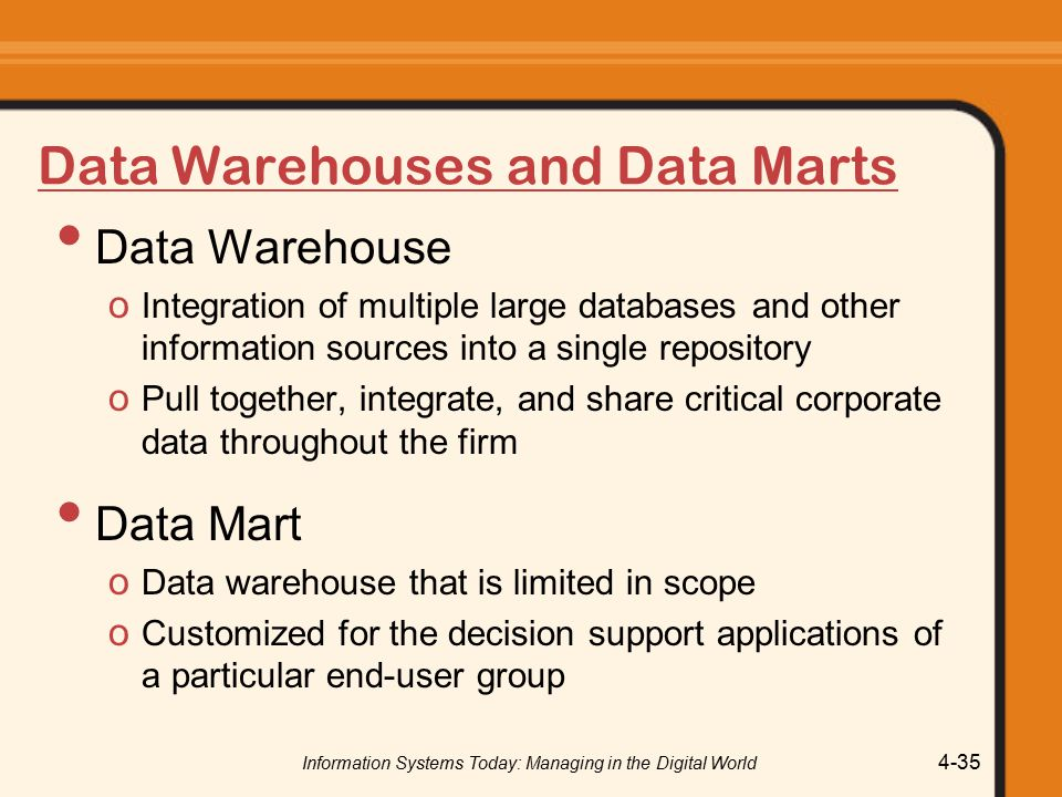 Information Systems Today: Managing in the Digital World 4-35 Data Warehouses and Data Marts Data Warehouse o Integration of multiple large databases and other information sources into a single repository o Pull together, integrate, and share critical corporate data throughout the firm Data Mart o Data warehouse that is limited in scope o Customized for the decision support applications of a particular end-user group