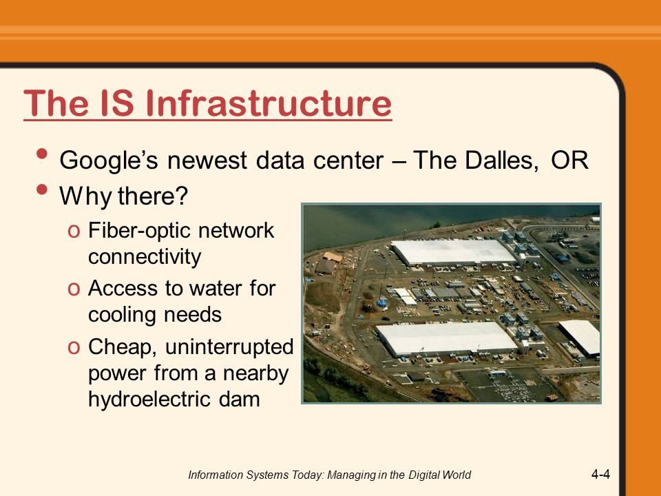 Information Systems Today: Managing in the Digital World 4-4 The IS Infrastructure Why there.