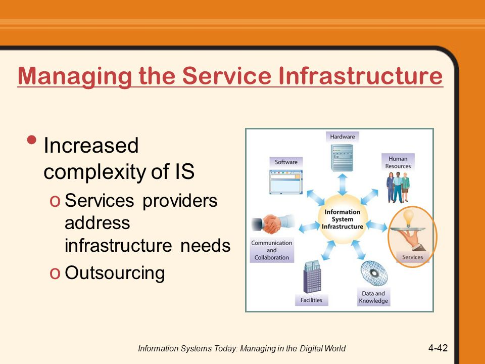 Information Systems Today: Managing in the Digital World 4-42 Managing the Service Infrastructure Increased complexity of IS o Services providers address infrastructure needs o Outsourcing