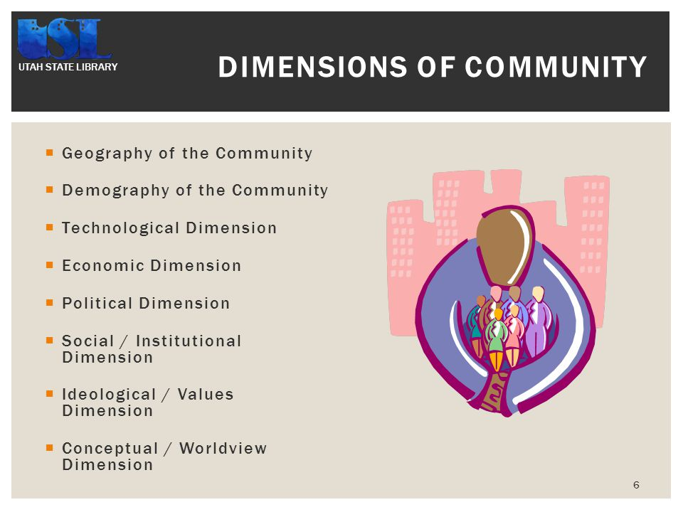 UTAH STATE LIBRARY  Geography of the Community  Demography of the Community  Technological Dimension  Economic Dimension  Political Dimension  Social / Institutional Dimension  Ideological / Values Dimension  Conceptual / Worldview Dimension 6 DIMENSIONS OF COMMUNITY