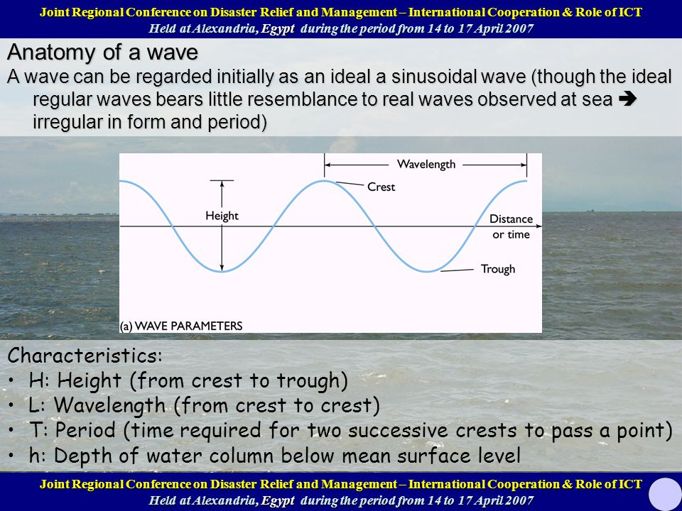 Anatomy of a wave A wave can be regarded initially as an ideal a sinusoidal wave (though the ideal regular waves bears little resemblance to real waves observed at sea  irregular in form and period) Characteristics: H: Height (from crest to trough) L: Wavelength (from crest to crest) T: Period (time required for two successive crests to pass a point) h: Depth of water column below mean surface level Joint Regional Conference on Disaster Relief and Management – International Cooperation & Role of ICT Help at Alexandria, Egypt during the period from 14 to 17 April 2007 Joint Regional Conference on Disaster Relief and Management – International Cooperation & Role of ICT Help at Alexandria, Egypt during the period from 14 to 17 April 2007 Joint Regional Conference on Disaster Relief and Management – International Cooperation & Role of ICT Held at Alexandria, Egypt during the period from 14 to 17 April 2007 Joint Regional Conference on Disaster Relief and Management – International Cooperation & Role of ICT Held at Alexandria, Egypt during the period from 14 to 17 April 2007