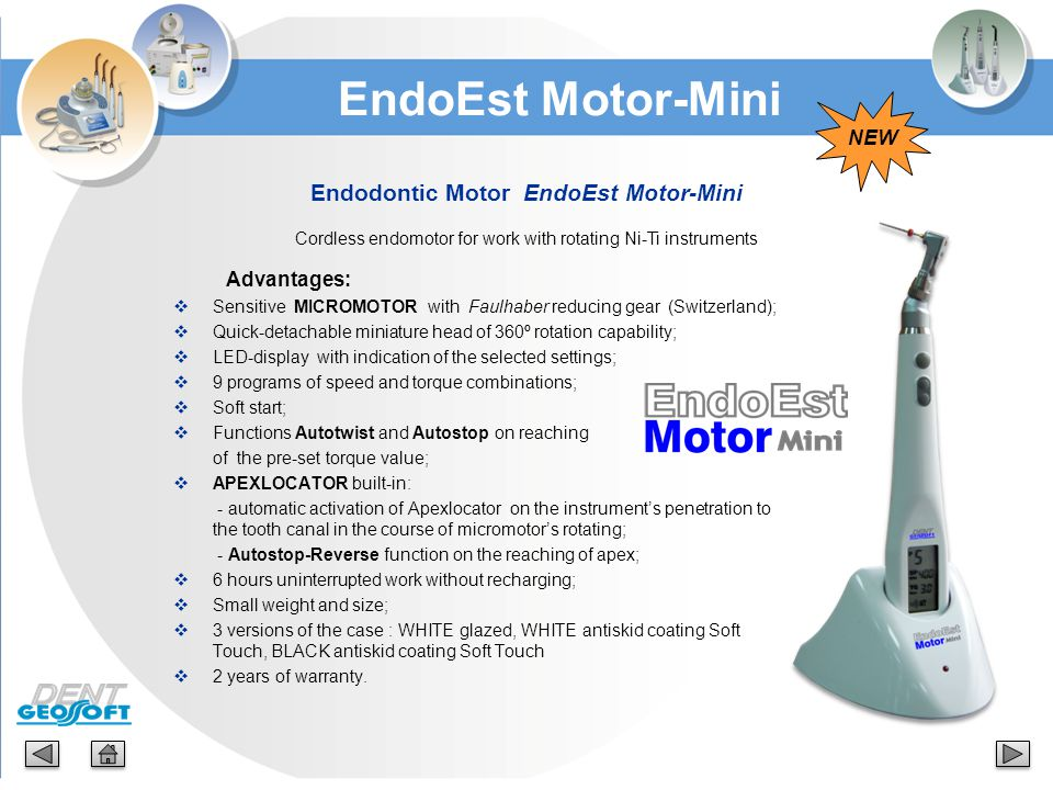 Main Characteristics: Device «NanoEst»:  Power source: Li-Ion accumulator (3,7V; 250 mA/h);  LED display: monochrome Ø32mm;  Measurement range: from 3,0 to 0 mm;  Overall dimensions: Ø 65 х 22,2 mm;  Weight: 48 g; NanoEst The Set:  «NanoEst» device  Cable Signal Line with mini-USB plug  File-clip Probe Prich  Lip-clip Oral Hook  Apron clasp  Cable USB-miniUSB (for the accumulator charging)  Charger (USB-socket)  The User's Guide (Manual) Charger:  Input voltage: (100-240) V, ~50/60Hz;  Output voltage: 5V; 1А.