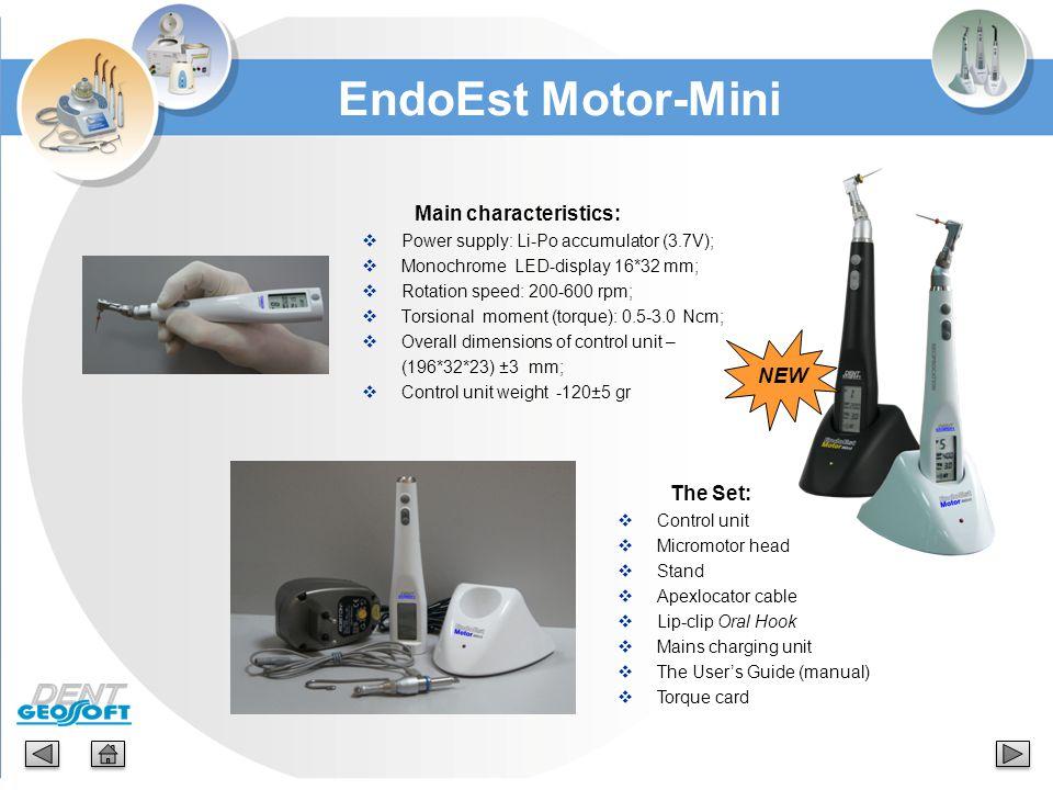 Main characteristics:  Power supply: Li-Ро accumulator (3.7V);  Monochrome LED-display 16*32 mm;  Rotation speed: 200-600 rpm;  Torsional moment (