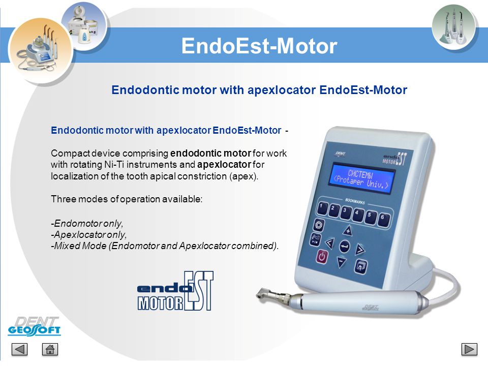 Endodontic motor with apexlocator EndoEst-Motor Endodontic motor with apexlocator EndoEst-Motor - Compact device comprising endodontic motor for work
