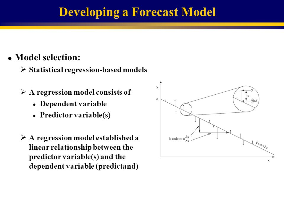 Developing a Forecast Model l The dependent variable is the total volumetric flow over a particular period at a specific point in a basin.