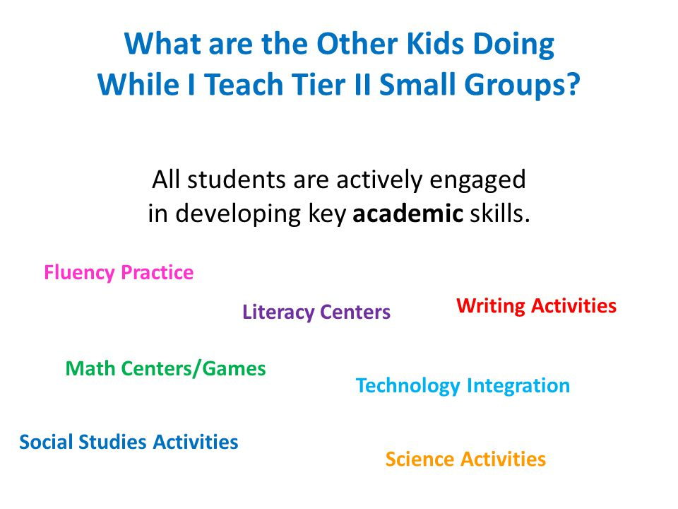What are the Other Kids Doing While I Teach Tier II Small Groups? All students are actively engaged in developing key academic skills. Literacy Center
