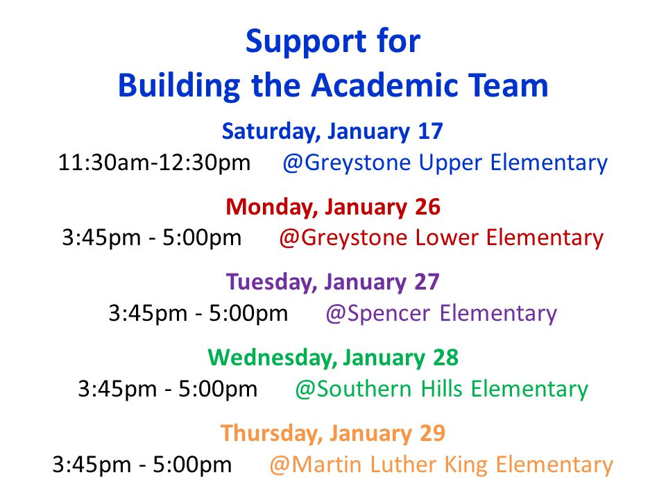 Support for Building the Academic Team Saturday, January 17 11:30am-12:30pm @Greystone Upper Elementary Monday, January 26 3:45pm - 5:00pm @Greystone