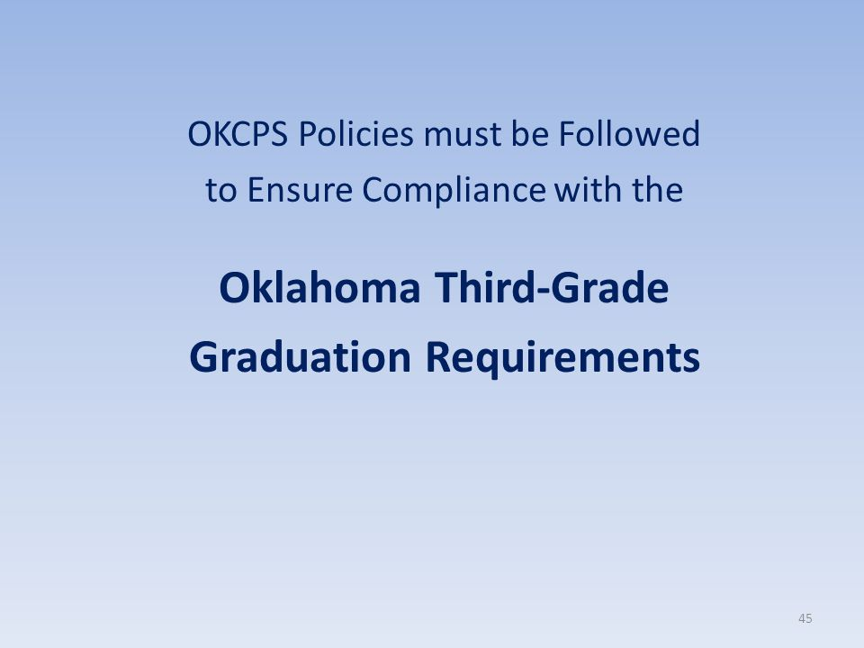 OKCPS Policies must be Followed to Ensure Compliance with the Oklahoma Third-Grade Graduation Requirements 45