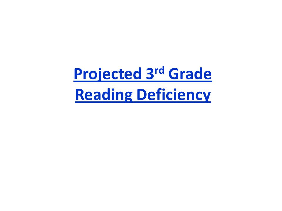 Projected 3 rd Grade Reading Deficiency