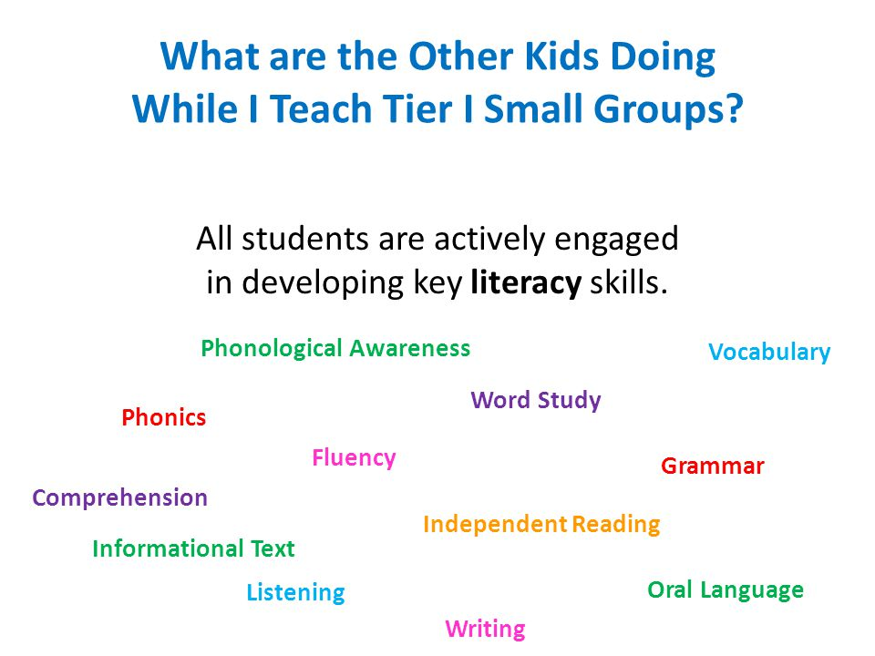 What are the Other Kids Doing While I Teach Tier I Small Groups? All students are actively engaged in developing key literacy skills. Phonological Awa