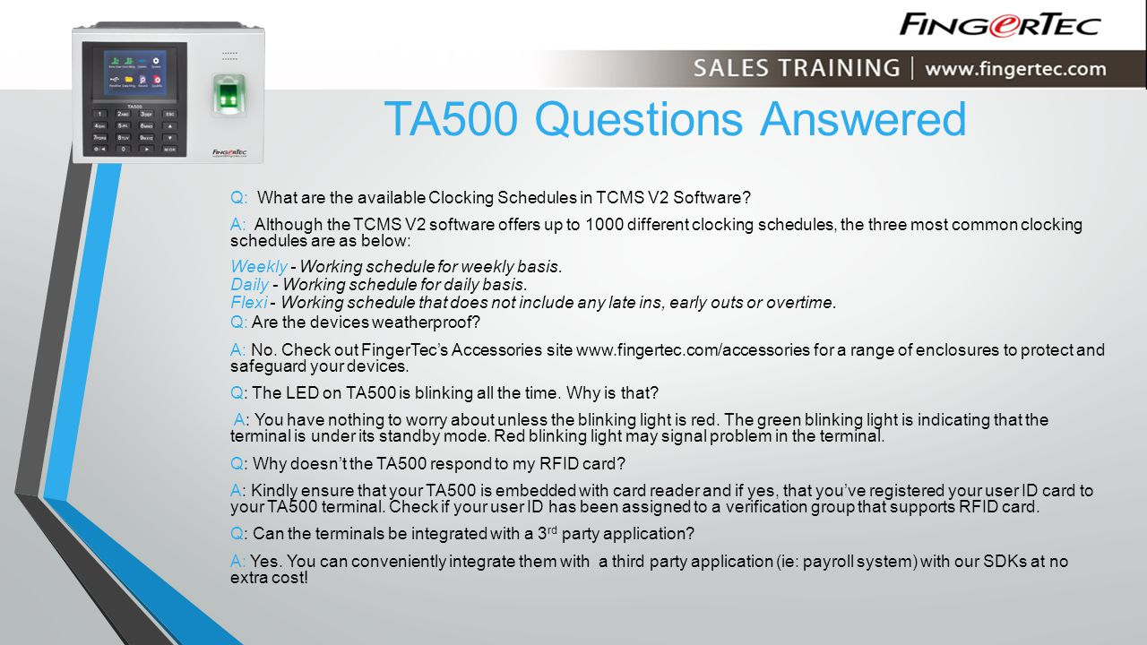 Q: What are the available Clocking Schedules in TCMS V2 Software.