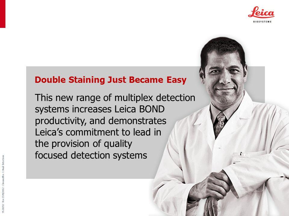 Menu 95.10782 Rev B 09/2012 ChromoPlex 1 Dual Detection  Leica BOND Covertile TM technology protects tissue and minimizes damage Maximize workflow Efficiency with
