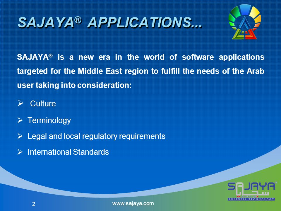 23 Partnership Requirements CategoryRequirement Partner Commitment Preferred Partner Business Partner Golden Partner Administrative Partnership Application Form Profile Registration Certificate Business Plan Certificates SAJAYA ® Sales Certificate (SPC) SAJAYA ® Pre-Sales Certificate (SPC) SAJAYA ® Implementation Certificate (SIC) www.sajaya.com