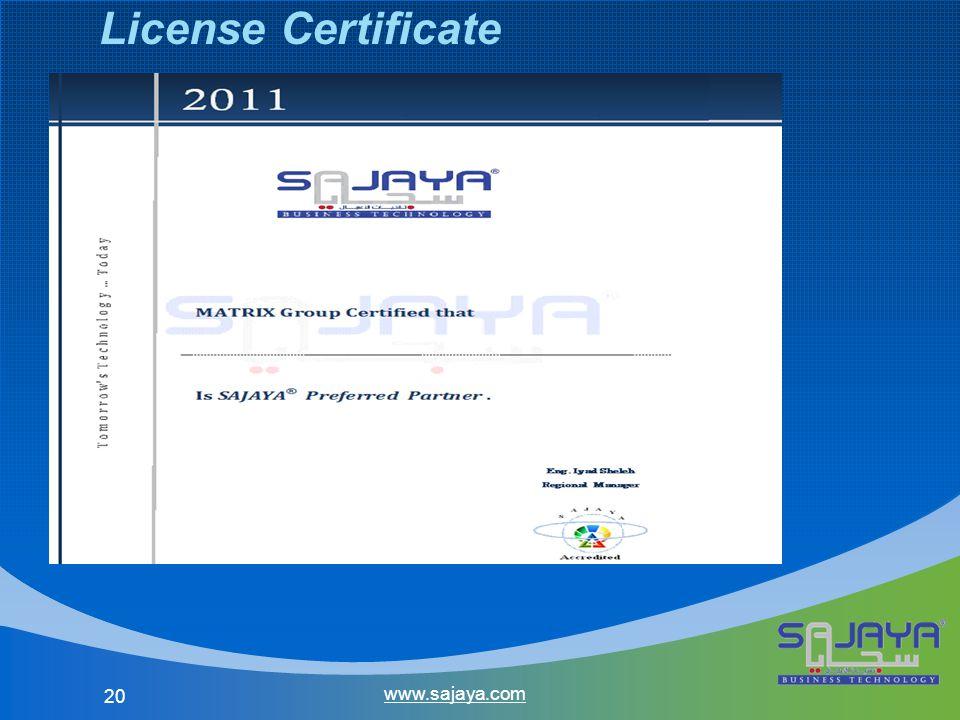 20 www.sajaya.com License Certificate