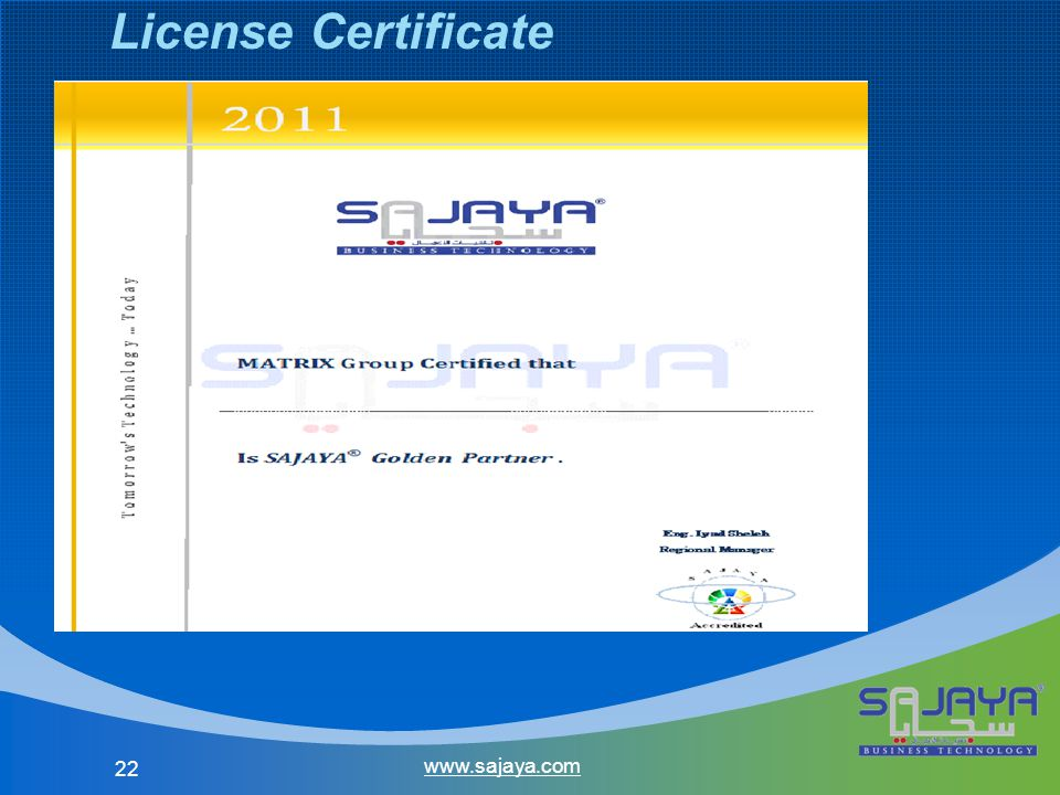 22 www.sajaya.com License Certificate