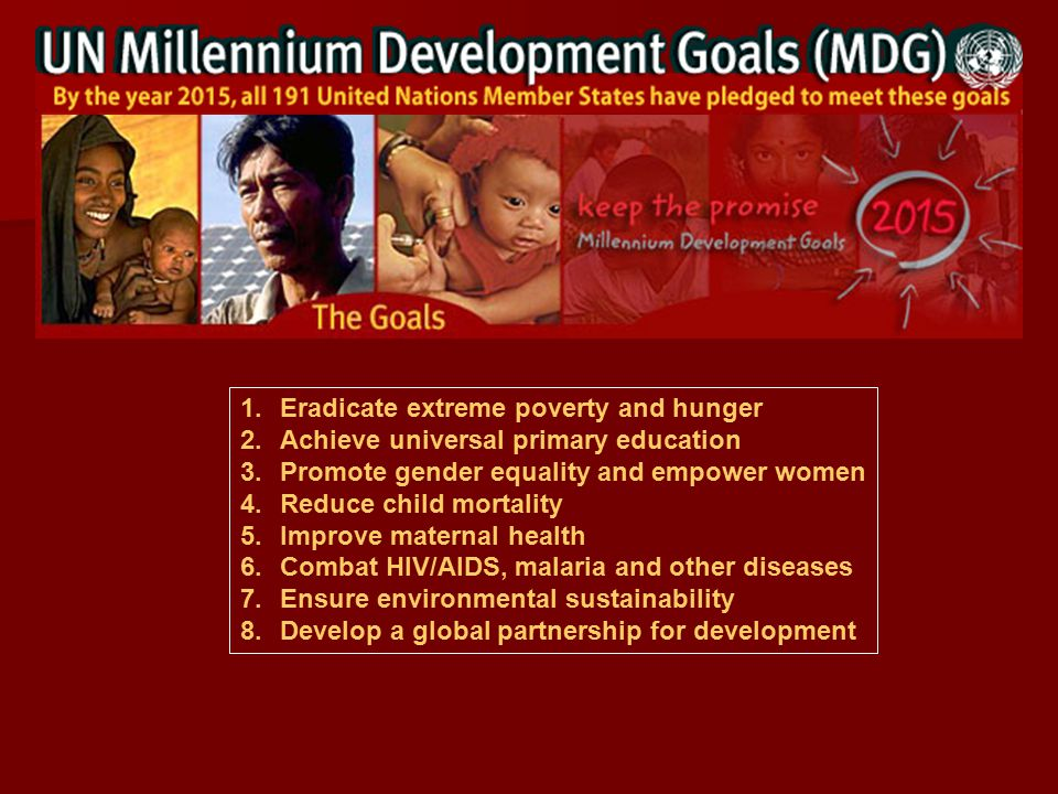 1.Eradicate extreme poverty and hunger 2.Achieve universal primary education 3.Promote gender equality and empower women 4.Reduce child mortality 5.Improve maternal health 6.Combat HIV/AIDS, malaria and other diseases 7.Ensure environmental sustainability 8.Develop a global partnership for development