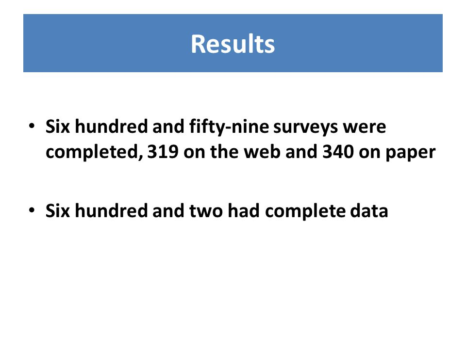 Results Six hundred and fifty-nine surveys were completed, 319 on the web and 340 on paper Six hundred and two had complete data