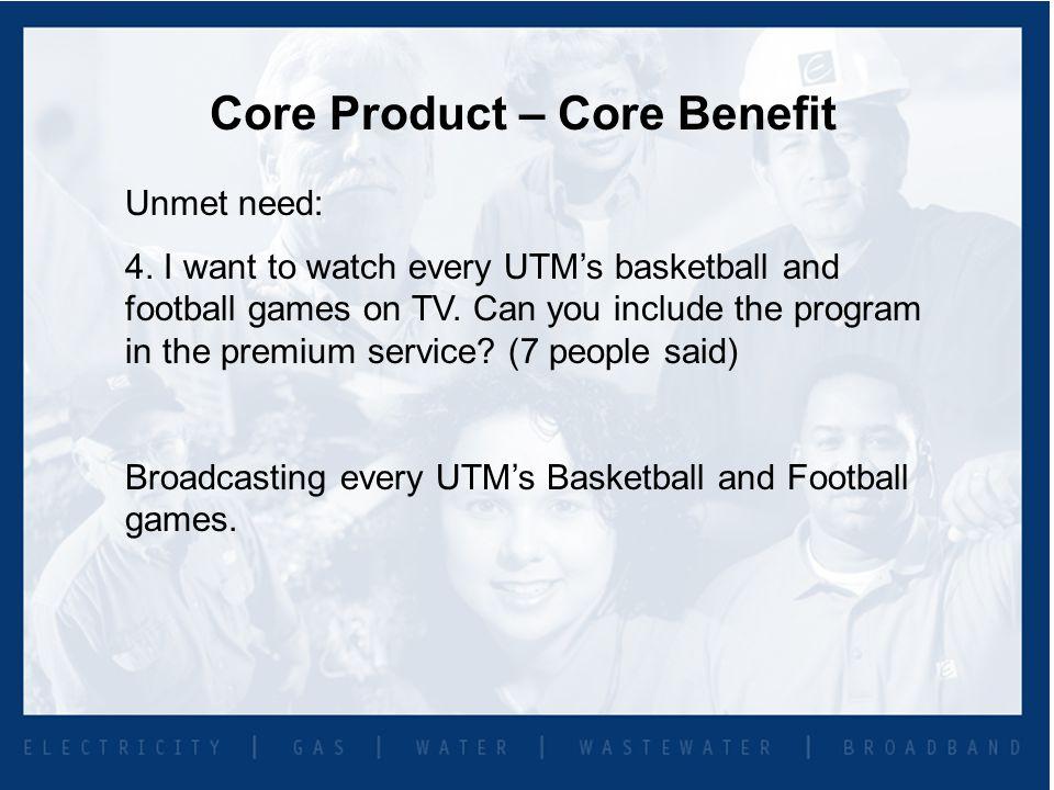 Core Product – Core Benefit Unmet need: 4.