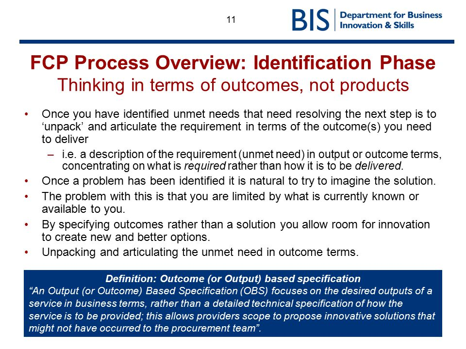 11 FCP Process Overview: Identification Phase Thinking in terms of outcomes, not products Once you have identified unmet needs that need resolving the