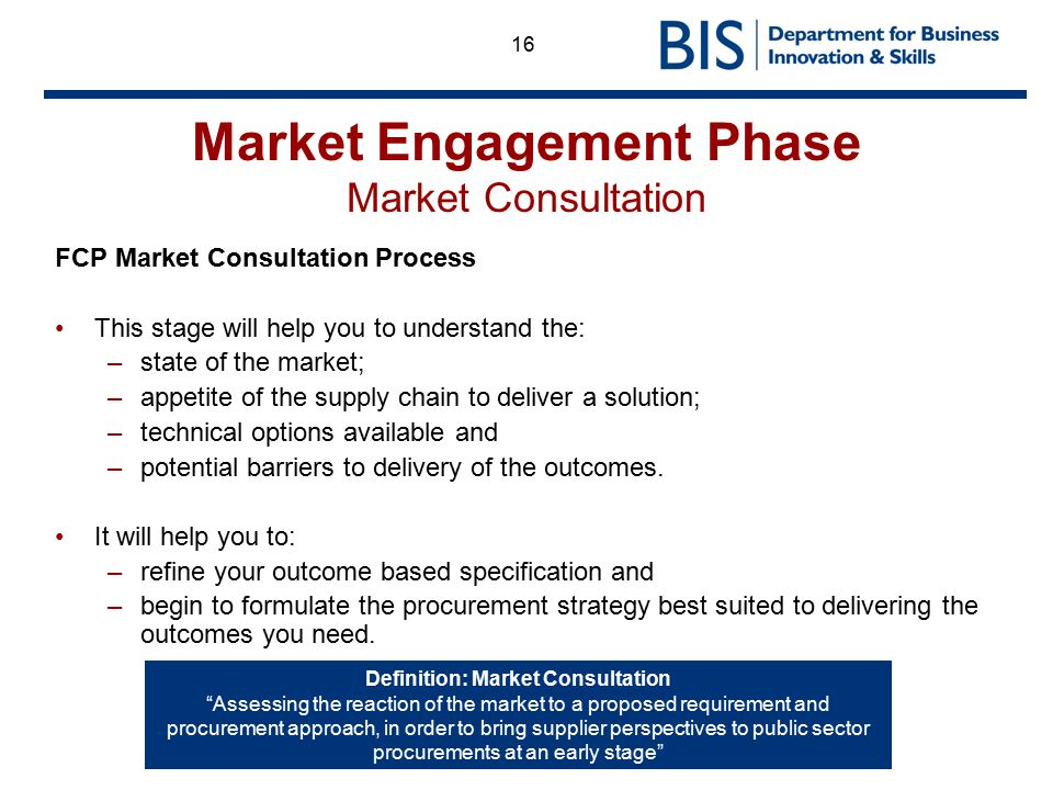 16 Market Engagement Phase Market Consultation FCP Market Consultation Process This stage will help you to understand the: –state of the market; –appe