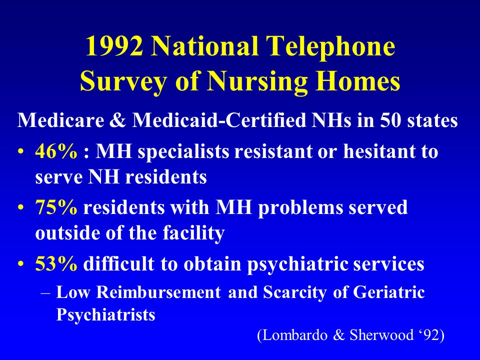 Effectiveness of Mandated Review and Recommendations for Mental Health Services Snowden (1998): n=523 (statewide sample) Model: Mandated PASSAR Level I Screens Method: Retrospective Review of PASSAR evaluations, recommendations, and Medicaid Administrative Billing Records for Services 1992-1993 Outcome: Compliance Rates with Recommendations Alternative Placement: 29% New Mental Health Services:35% (73% for Medications, 7% for Psych.