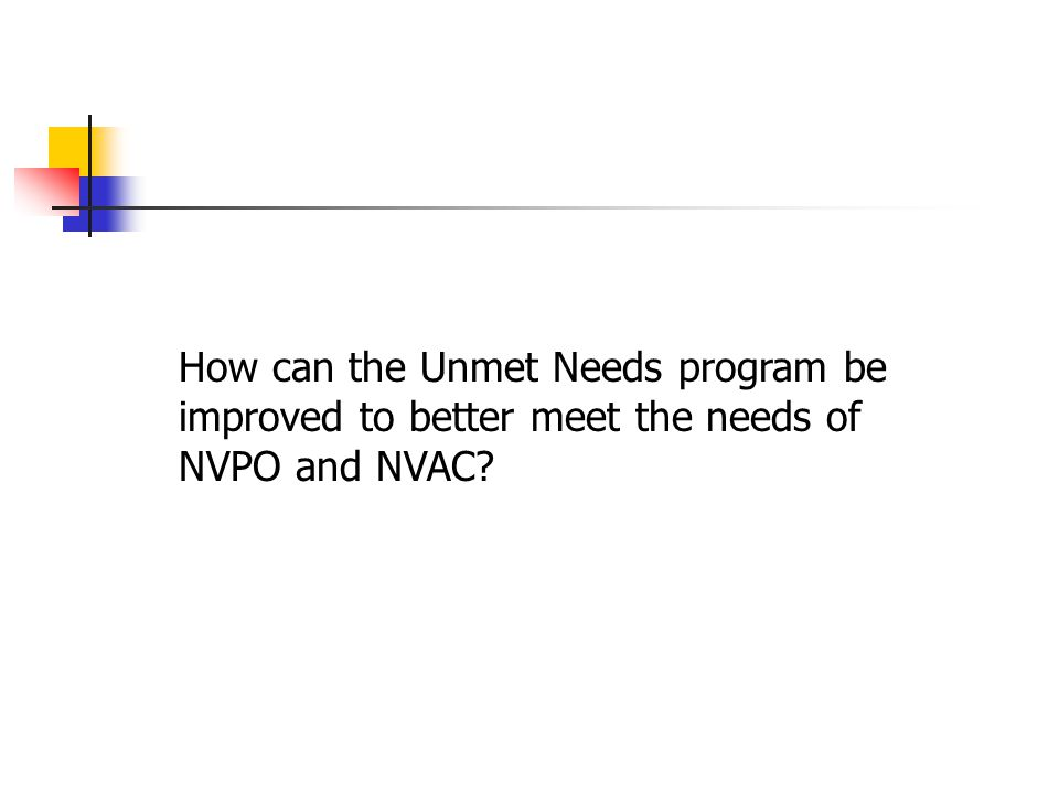 How can the Unmet Needs program be improved to better meet the needs of NVPO and NVAC?