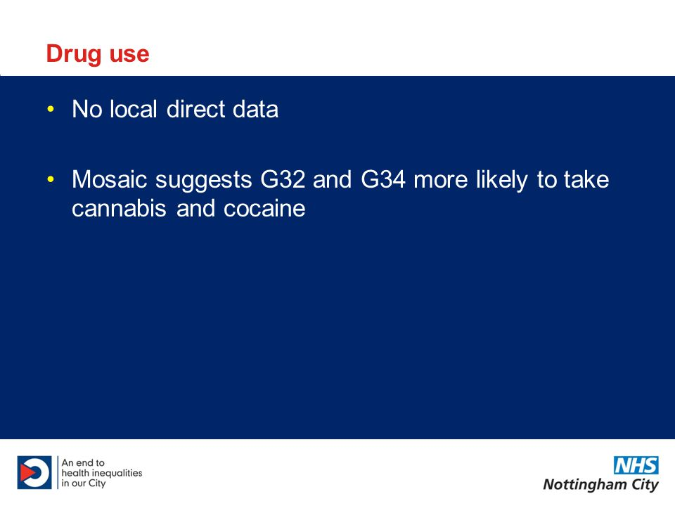 Drug use No local direct data Mosaic suggests G32 and G34 more likely to take cannabis and cocaine
