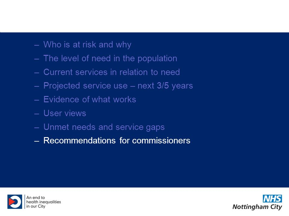 Recommendations Establish links with NHS and Local Authority commissioners –Utilise expertise Strengthen links with mainstream services Monitor equity of services –TB screening –Eating disorders services –Sexual health, smoking cessation and alcohol treatment services (County/City) Student-specific data in future?