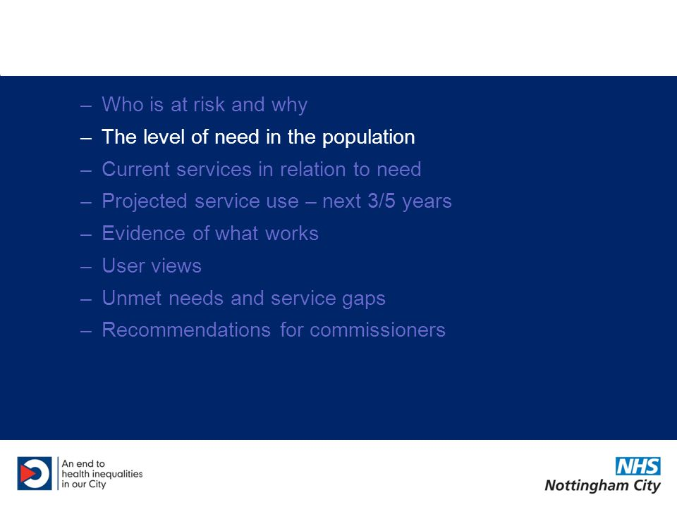 –Who is at risk and why –The level of need in the population –Current services in relation to need –Projected service use – next 3/5 years –Evidence of what works –User views –Unmet needs and service gaps –Recommendations for commissioners