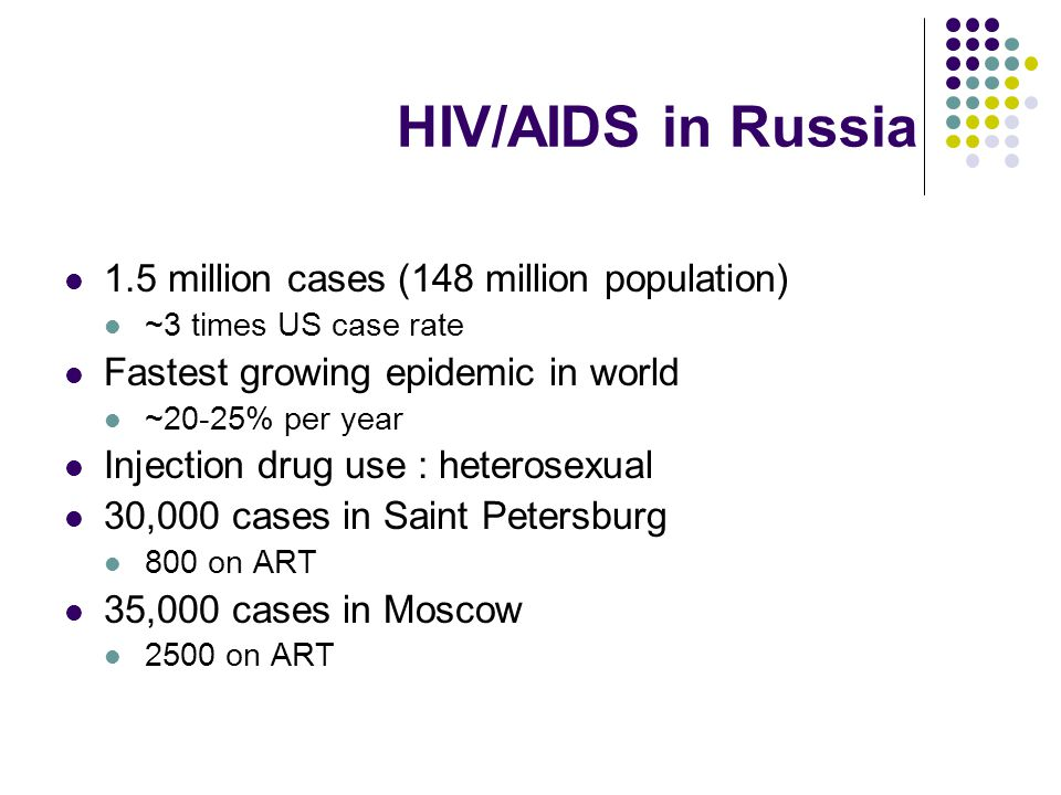 HIV/AIDS in Russia 1.5 million cases (148 million population) ~3 times US case rate Fastest growing epidemic in world ~20-25% per year Injection drug use : heterosexual 30,000 cases in Saint Petersburg 800 on ART 35,000 cases in Moscow 2500 on ART