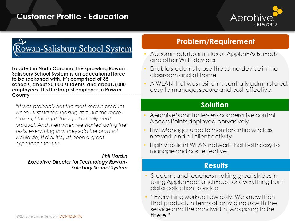 © 2012 Aerohive Networks CONFIDENTIAL 42 Customer Profile - Education It was probably not the most known product when I first started looking at it.