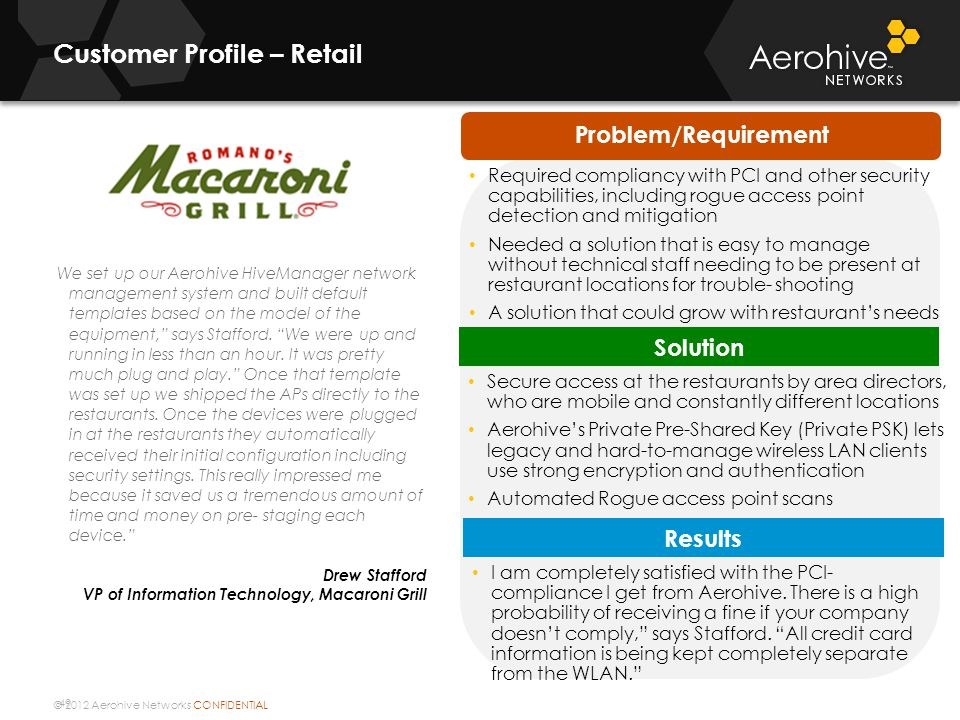 © 2012 Aerohive Networks CONFIDENTIAL 49 Customer Profile – Retail We set up our Aerohive HiveManager network management system and built default templates based on the model of the equipment, says Stafford.