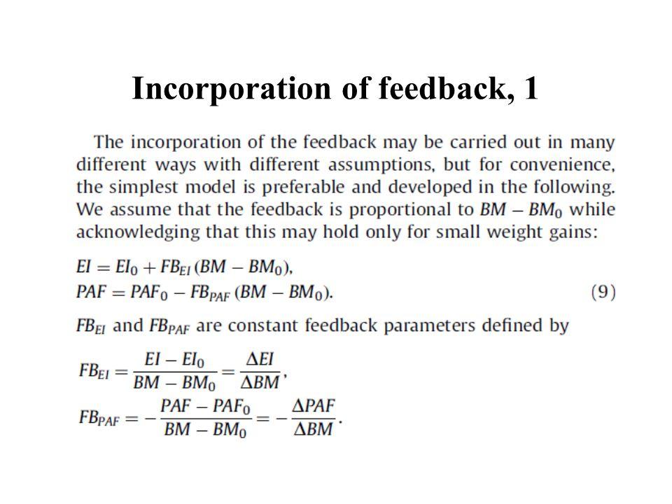 Incorporation of feedback, 1